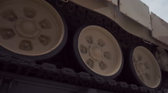 Track and rollers of tank T-90 Stock Footage
