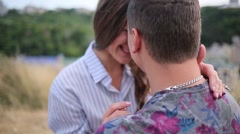 Couple smiling and kissing close up Stock Footage