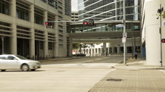 Houston, TX - close shot typical downtown busy street with traffic Stock Footage