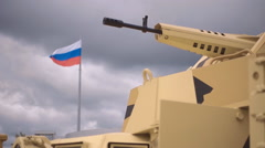 Russian weapons. If you want peace, prepare for war. Slow mo Stock Footage