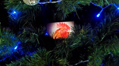 New Year, Christmas clock on the tree Stock Footage