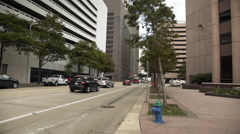 Houston, TX - downtown busy street with traffic 4k Stock Footage