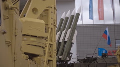 Russian anti-aircraft missile system of medium-range air defense Stock Footage