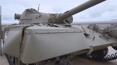 Soviet tank on the exhibition Stock Footage