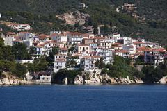 GREECE: Skiathos harbour and town Stock Photos