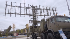 The military machine with a huge, wide radar  Stock Footage