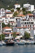 GREECE: Skiathos harbour MCU Vertical harbourfront Stock Photos