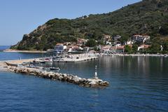 GREECE: Skopolis Island, Loutraki harbour Stock Photos