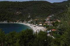 GREECE: Skopolis island, Panormas harbour Stock Photos