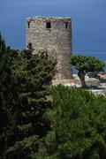 GREECE: Alonossis Island, Old Town tower Stock Photos