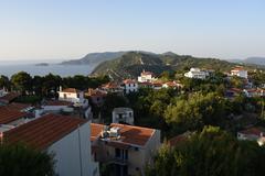 GREECE: Alonossis island, old town, sunset Stock Photos