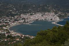 GREECE Skopolis Harbour WS Stock Photos