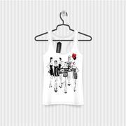 Print for T-shirt. Model Girls hand drawing Stock Illustration