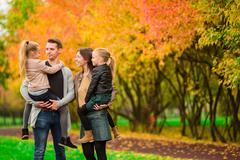 Family autumn vacation Stock Photos