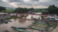 Timelapse at boat tourist port at Inle lake in Shan state Myanmar Stock Footage