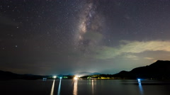 Time lapse- Milky way over reservoir with mountain night (effect pan) Stock Footage