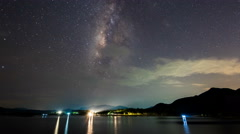 Time lapse- Milky way over reservoir with mountain night (effect zoom) Stock Footage