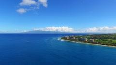 Aerial approach to Ka'anapali Resort, Maui Stock Footage