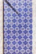 Typical Portuguese old ceramic wall tiles (Azulejos) in Lisbon, Portugal Stock Photos