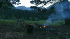 Fire with smoke evening in mountain forest Stock Footage