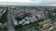 Aerial bird eye view moving forward over the building in Bangkok Thailand Stock Footage