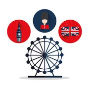 Isolated Big ben flag eye and soldat design Piirros