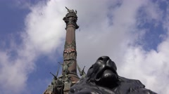 The Column of Barcelona at Port Vell Stock Footage
