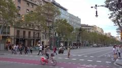Street corner of Passeig de Gracia in Barcelona Stock Footage