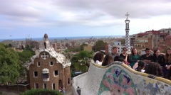 Famous Park Guell in Barcelona Stock Footage