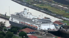 Panama Canal,  Cruise ship in Panama Canal Lock in  Stock Footage