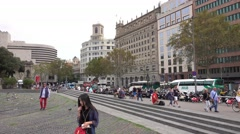 Placa de Catalunya - Catalonia Square in Barcelona Stock Footage