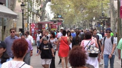 Most busy place in Bacelona - La Rambla Stock Footage