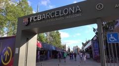 FC Barcelona - Entrance to Camp Nou Stock Footage