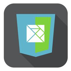 Vector web development shield sign html5 javascript lines symbol icon on grey Stock Illustration