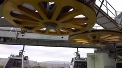 Teleferic Ropeway in Barcelona to Montjuic Stock Footage