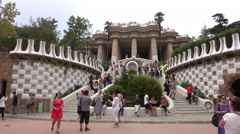 Lots of tourists at famous Park Guell in Barcelona Stock Footage