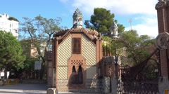 Barcelona sightseeing - Palau Reial Pavellons Guell Stock Footage