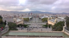 Aerial view over Plaza De Espagna from National Palace in Barcelona Stock Footage