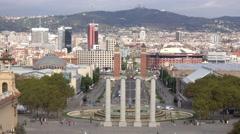 Amazing view over Barcelona from Palau Nacional Stock Footage