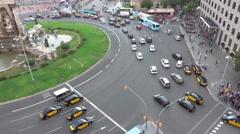 Street traffic at Plaza de Espagna iin Barcelona Stock Footage