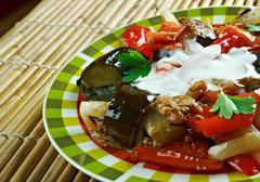 Spicy Braised Eggplant Stock Photos