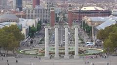 The columns at Plaza de Espagna - view from Palau Nacional Stock Footage