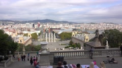 Great view over Barcelona from Palau Nacional Stock Footage