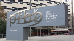 PRBB Biomedical research center in Barcelona Stock Footage