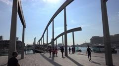 Rambla de Mar at Port Vell Barcelona Stock Footage