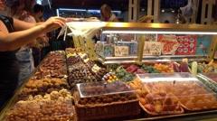 Famous and biggest Market Hall in Barcelona - La Boqueria Stock Footage