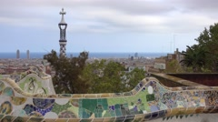 Antoni Gaudi style at famous Park Guell in Barcelona Stock Footage