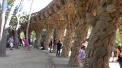 Amazing Park Guell in Barcelona Stock Footage