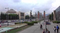 Aerial view over Plaza de Espagna - Espagna Square in Barcelona Stock Footage