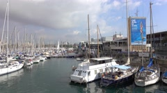 Port Vell at Barcelona Stock Footage